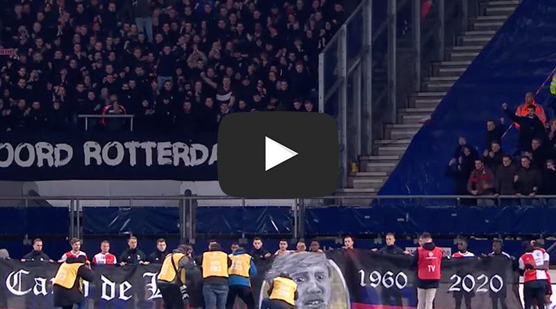 Prachtig eerbetoon van de Feyenoord-supporters aan clubicoon Carlo de Leeuw